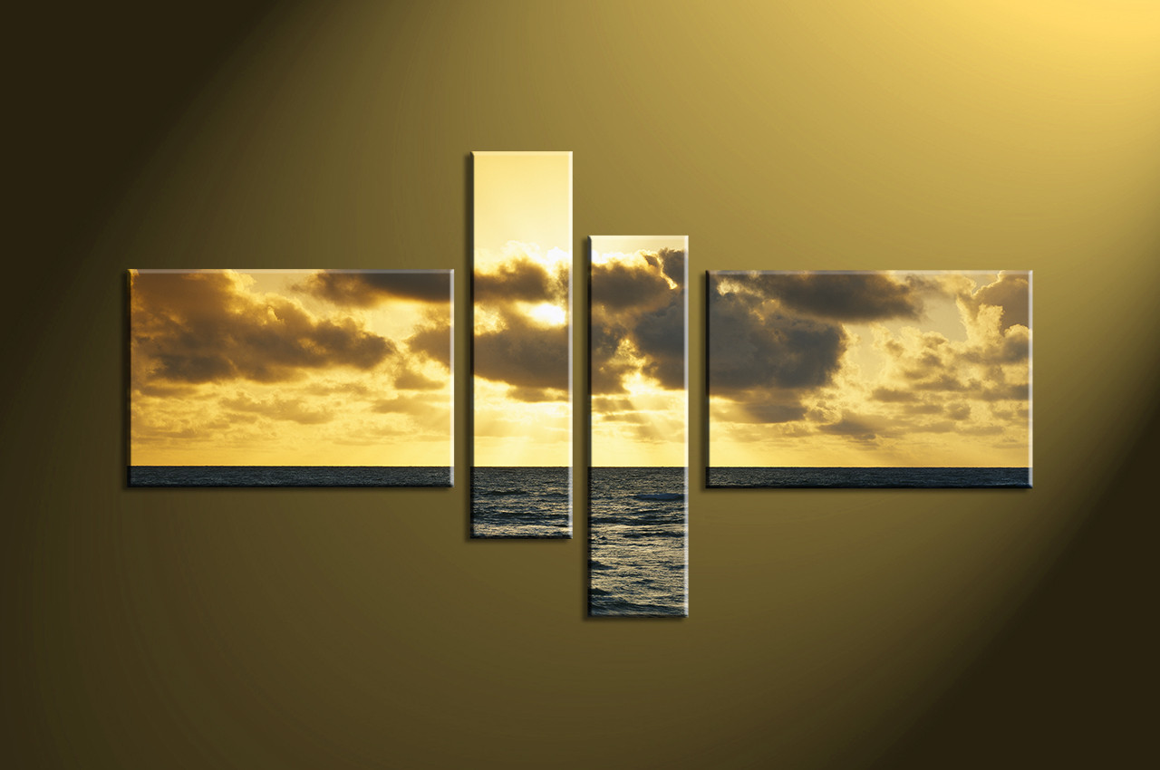 4 Piece Yellow Ocean Canvas Art Prints