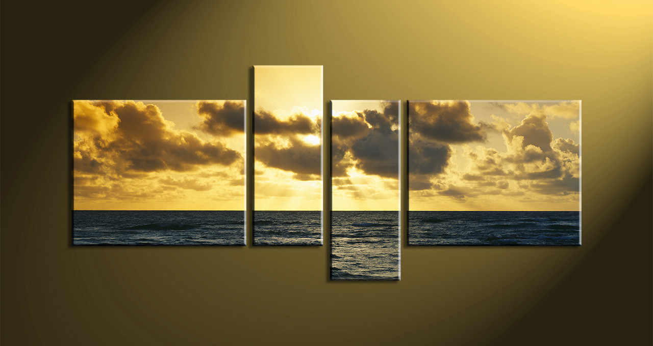 Home Décor, 4 Piece Canvas Wall Art,Scenery Multi Panel Canvas, Ocean Huge