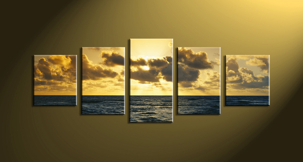 5 Piece Yellow Ocean Multi Panel Canvas