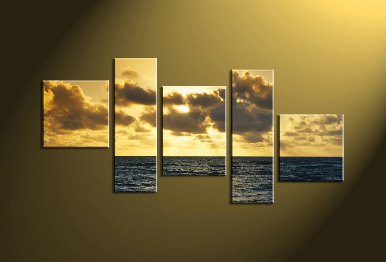 5 Piece Gold Ocean Large Canvas