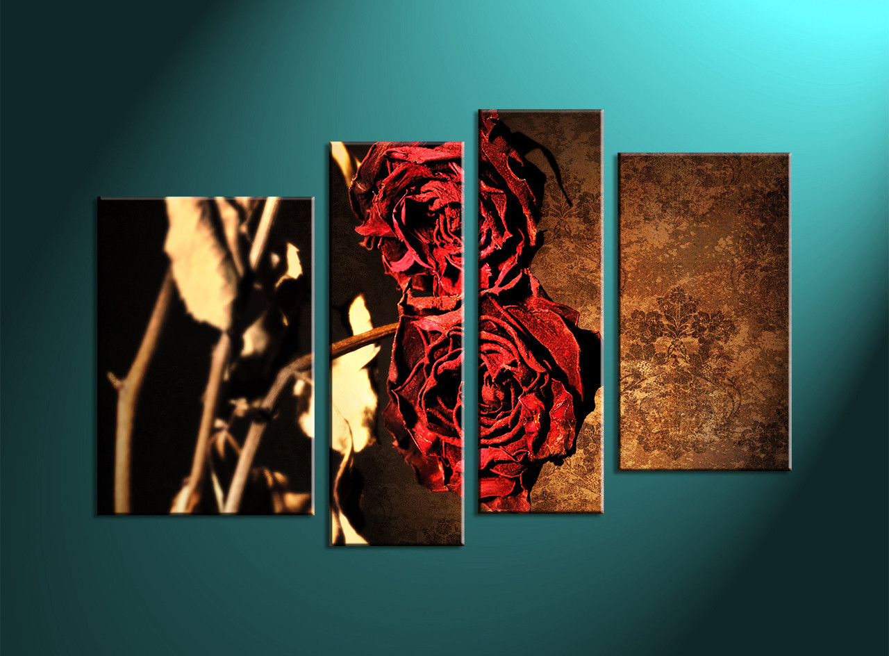 Home Décor, 4 Piece Canvas Wall Art, Glass Multi Panel Canvas, Red Rose
