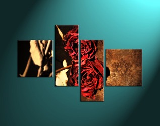 Home décor red rose wall art flower multi panel art red rose art & 4 Piece Red Flower Canvas Photo Print