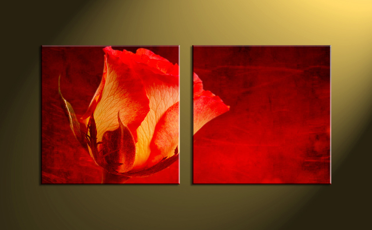 Home decor, scenery art, 2 piece wall art, red artwork, floral huge