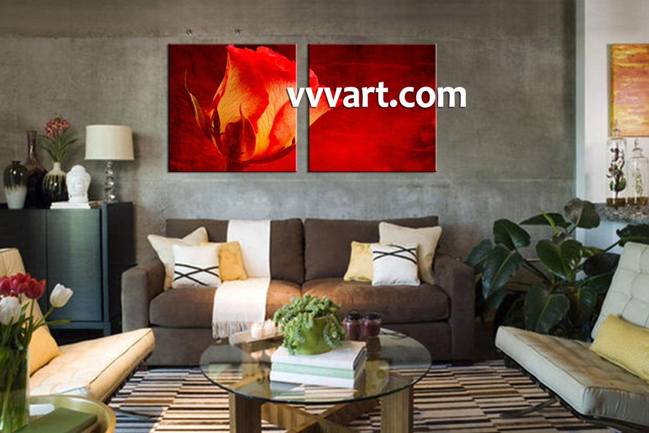 Living Room Decor, Scenery Artwork, 2 Piece Canvas Prints, Red Art, Floral Part 64