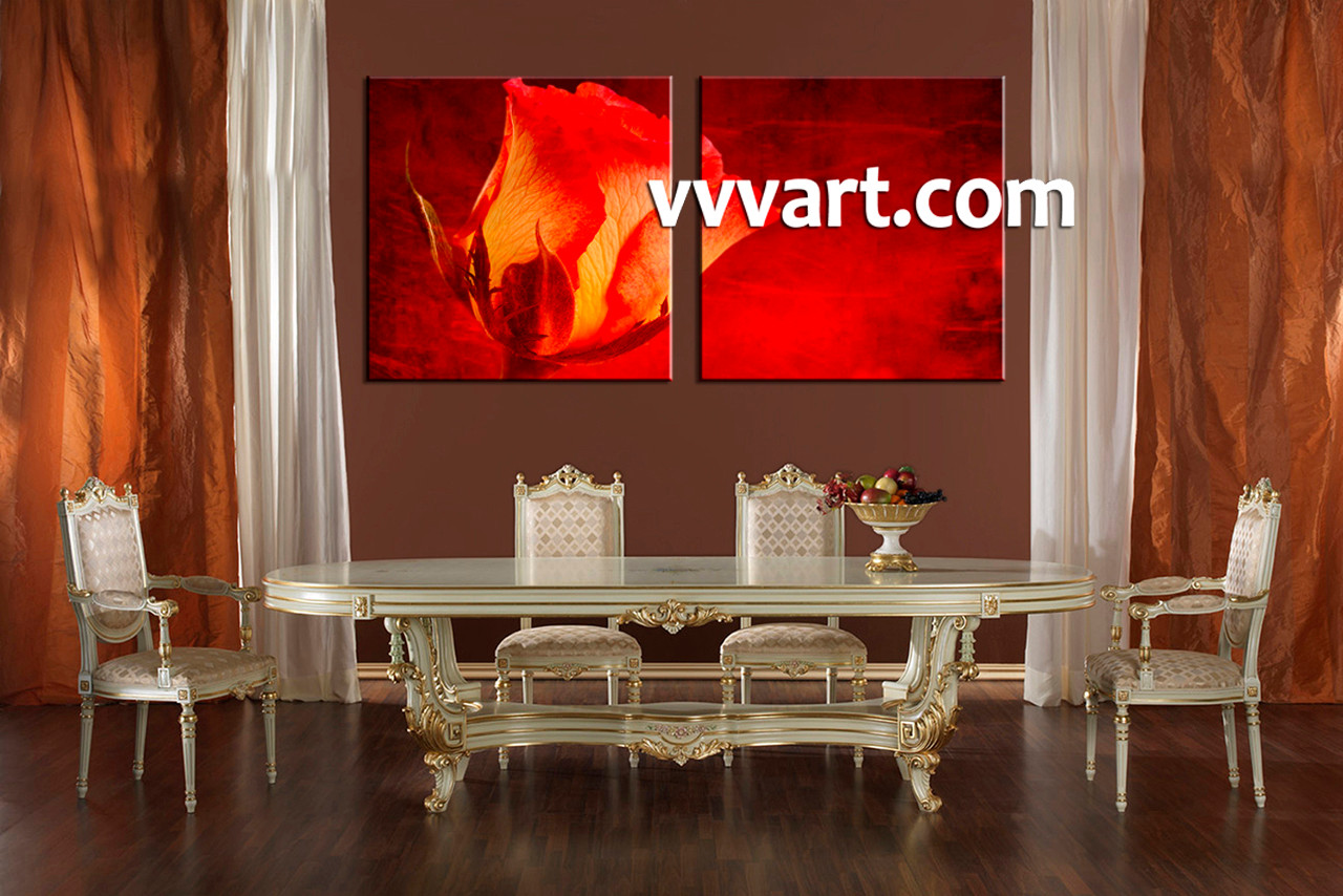 Dining Room Decor Scenery Large Canvas 2 Piece Huge Red