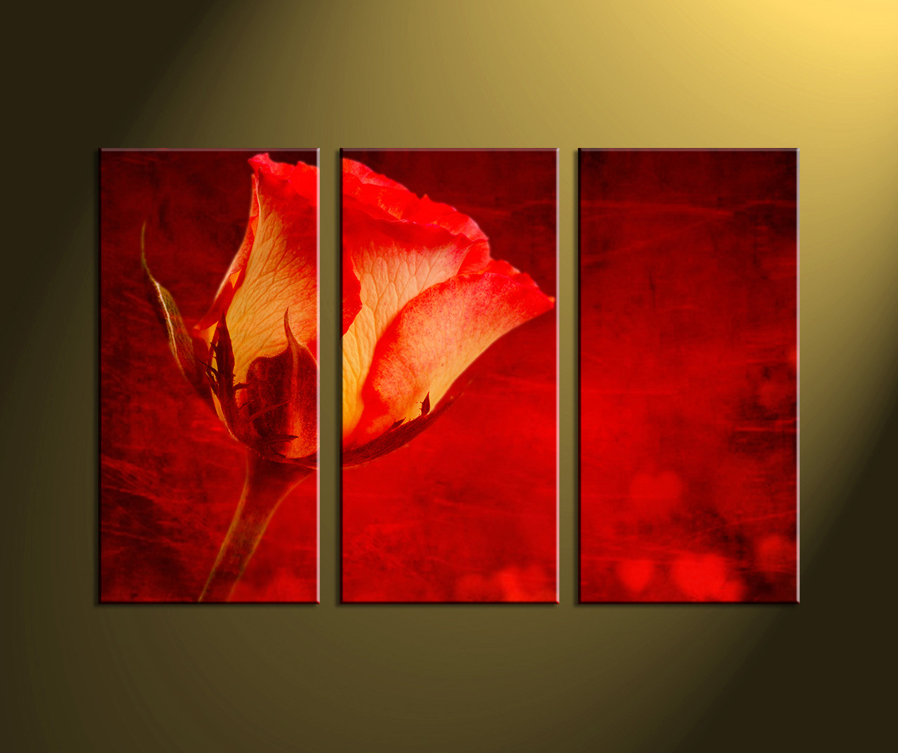 Home Decor, Scenery Art, 3 Piece Wall Art, Red Artwork, Floral Huge