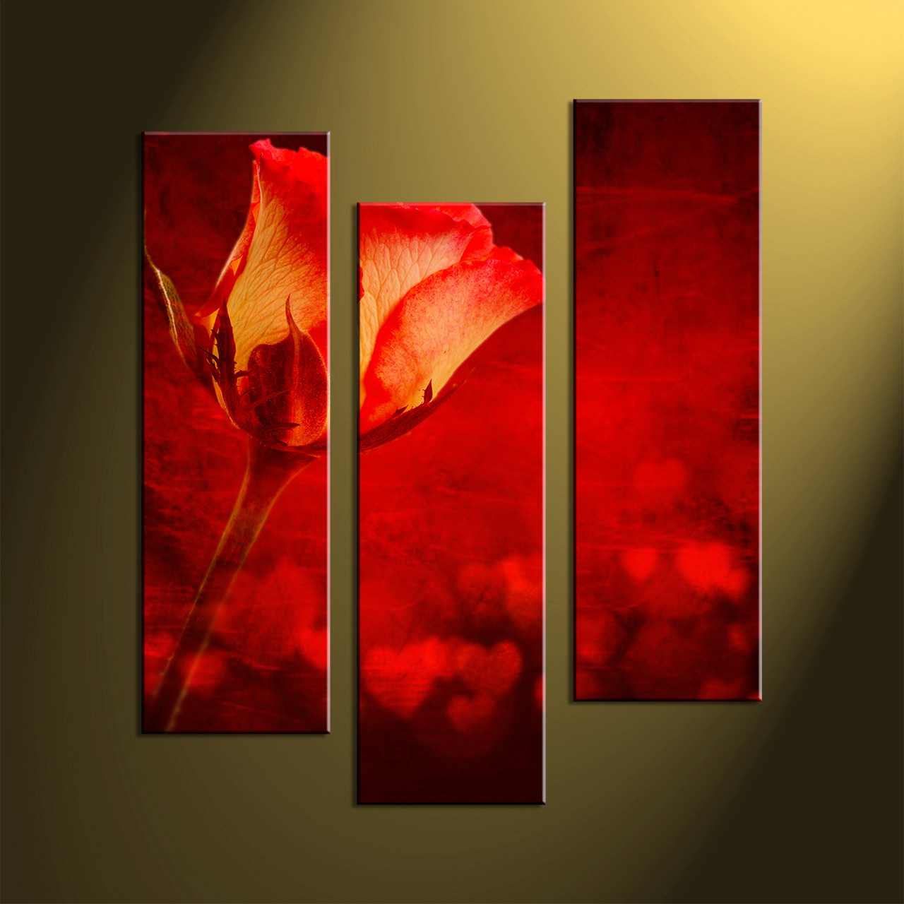 Home wall decor flower art scenery wall art 3 piece photo canvas & 3 Piece Home Decor Red Rose Canvas Pictures