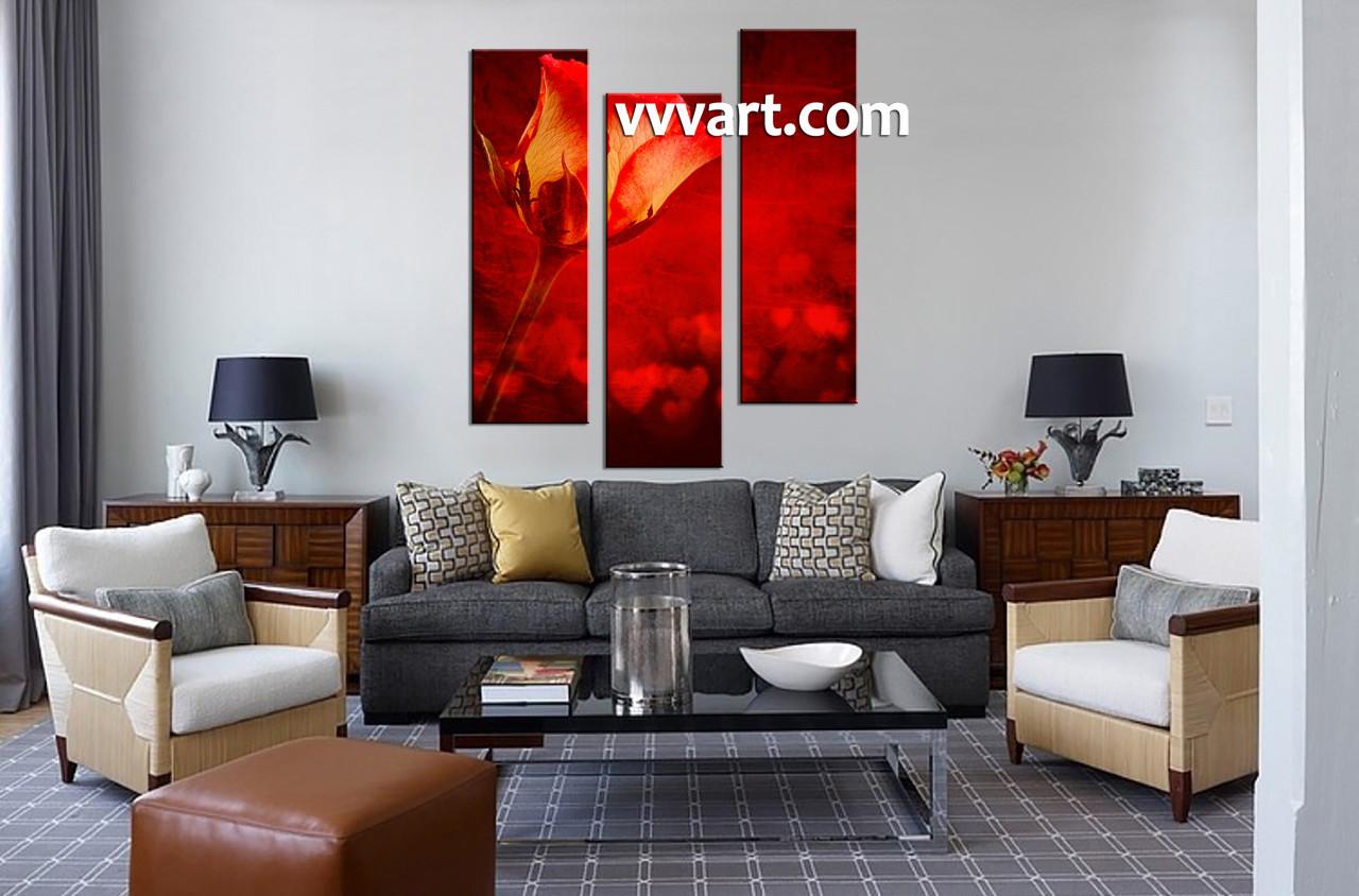 3 piece home decor red rose canvas pictures. Black Bedroom Furniture Sets. Home Design Ideas