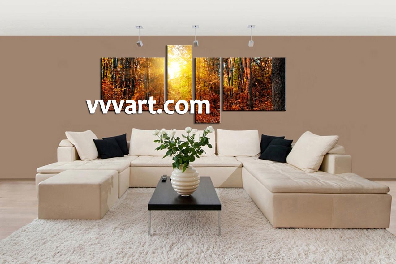 4 Piece Wall Art, Forest Multi Panel Art, Scenery Wall Art, Sunrise Huge Part 83
