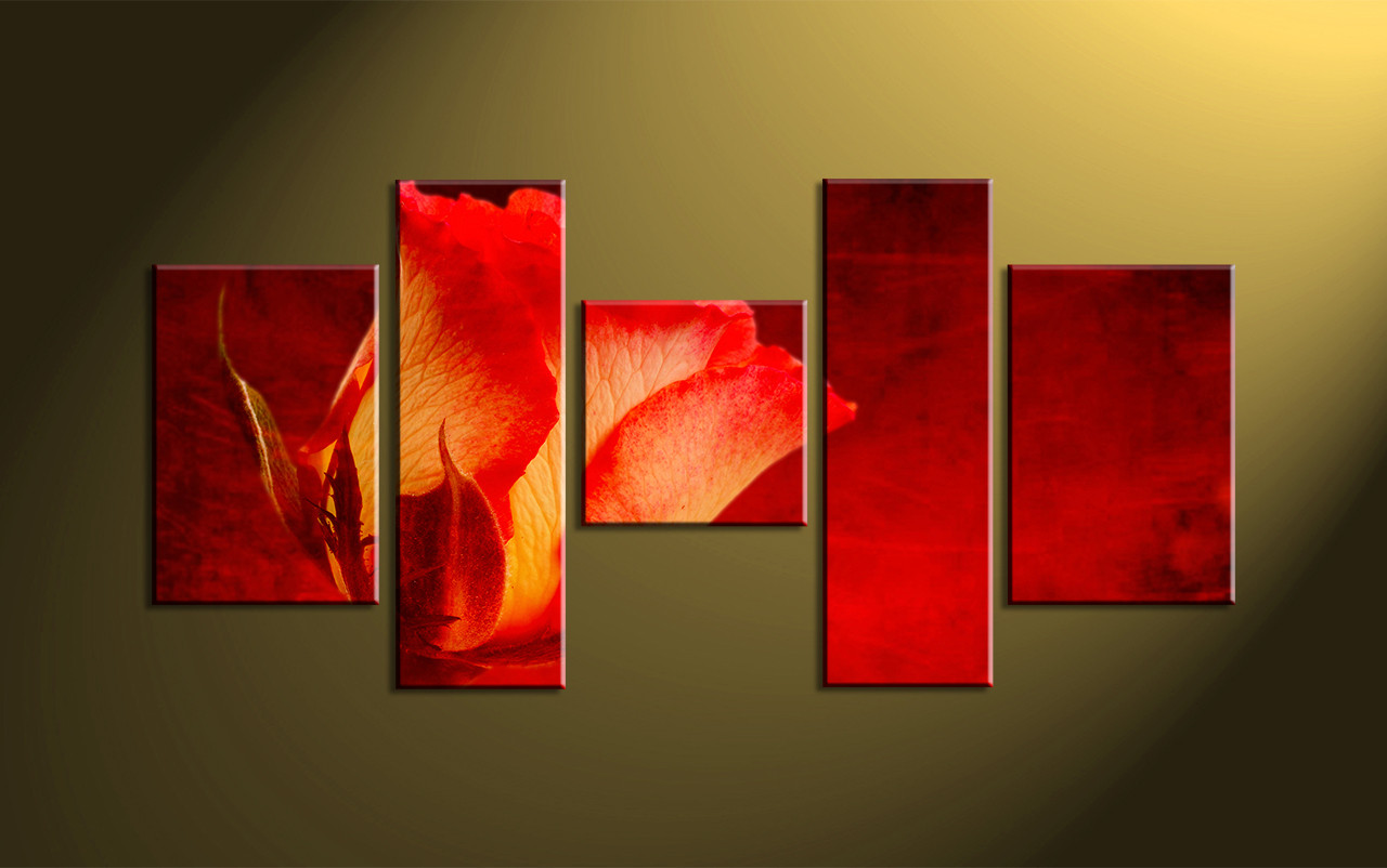 Canvas Wall Decor 5 piece red flower multi panel canvas