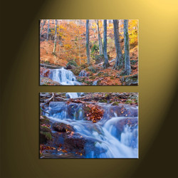 2 Piece Brown Scenery Waterfall Vertical Canvas Art