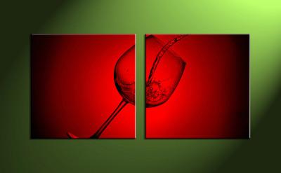 Home décor, 2 piece wall art, wine multi panel art, wine art, glass canvas print