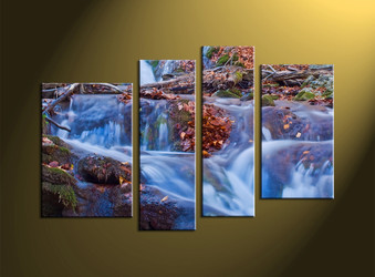 4 Piece Brown Forest Scenery Waterfall Huge Canvas Art
