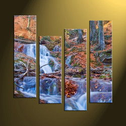 4 Piece Brown Canvas Scenery Waterfall Huge Pictures