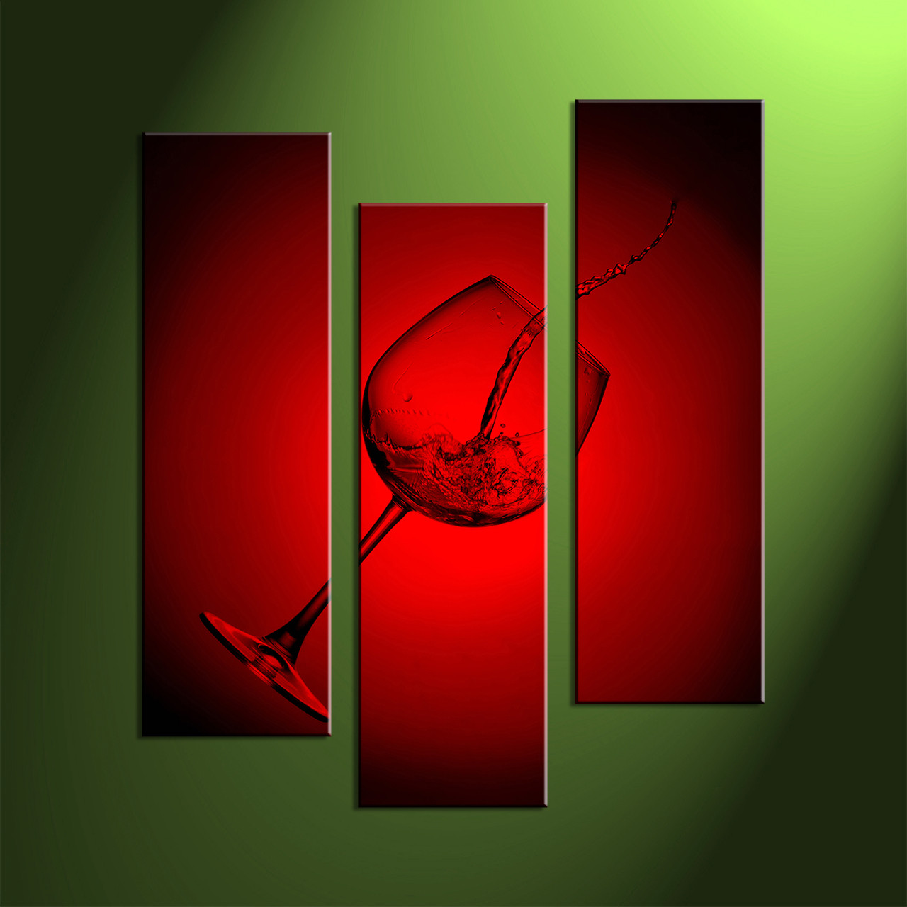 Wine Decor Wall Art 3 piece canvas wall art, wine glass huge canvas print, green