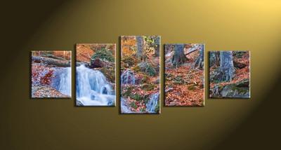 5 Piece Waterfall Brown Scenery Canvas Art Prints