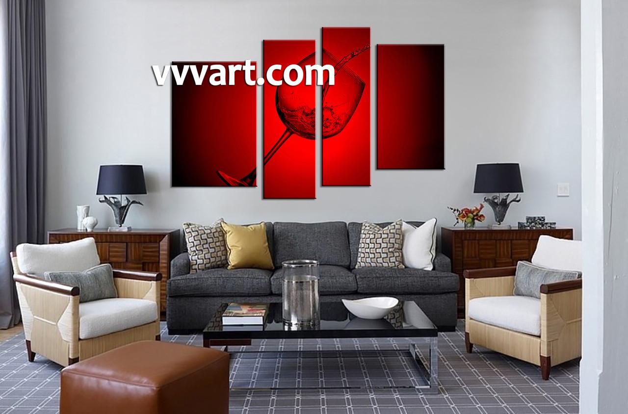 living room wall dcor 4 piece wall art wine large canvas glass art