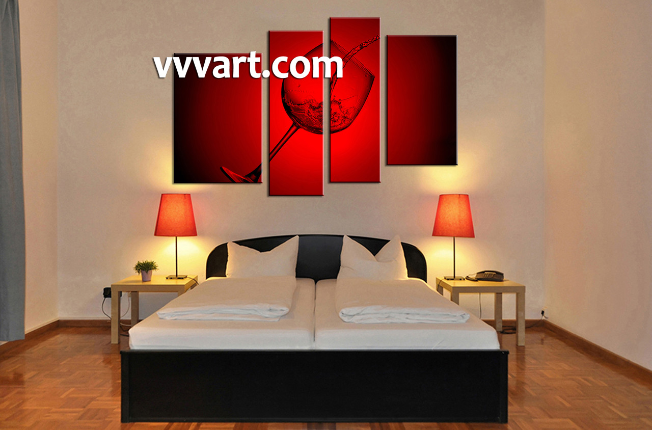 Wine Wall Decor 4 piece canvas red wine wall decor