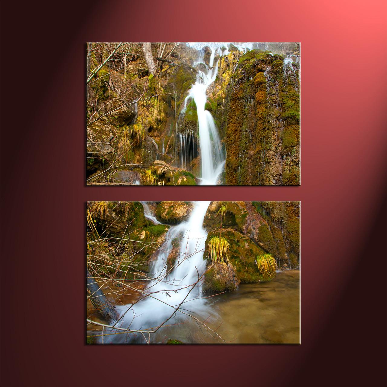 Waterfall Wall Art 2 piece green scenery waterfall wall art
