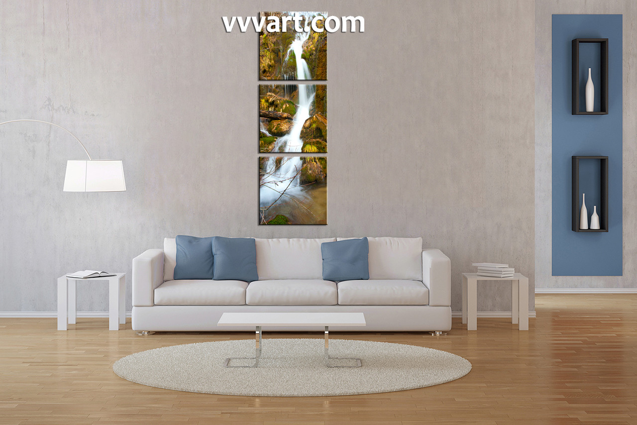 Living room art  3 piece group canvas  waterfall multi panel canvas  forest  wall3 Piece Green Scenery Canvas Print. Living Room Waterfall. Home Design Ideas