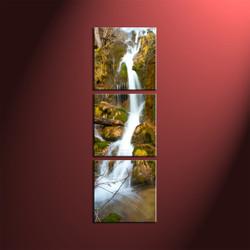 Waterfall Art,3 Piece Green Scenery Art,Vertical Canvas Triptych Print