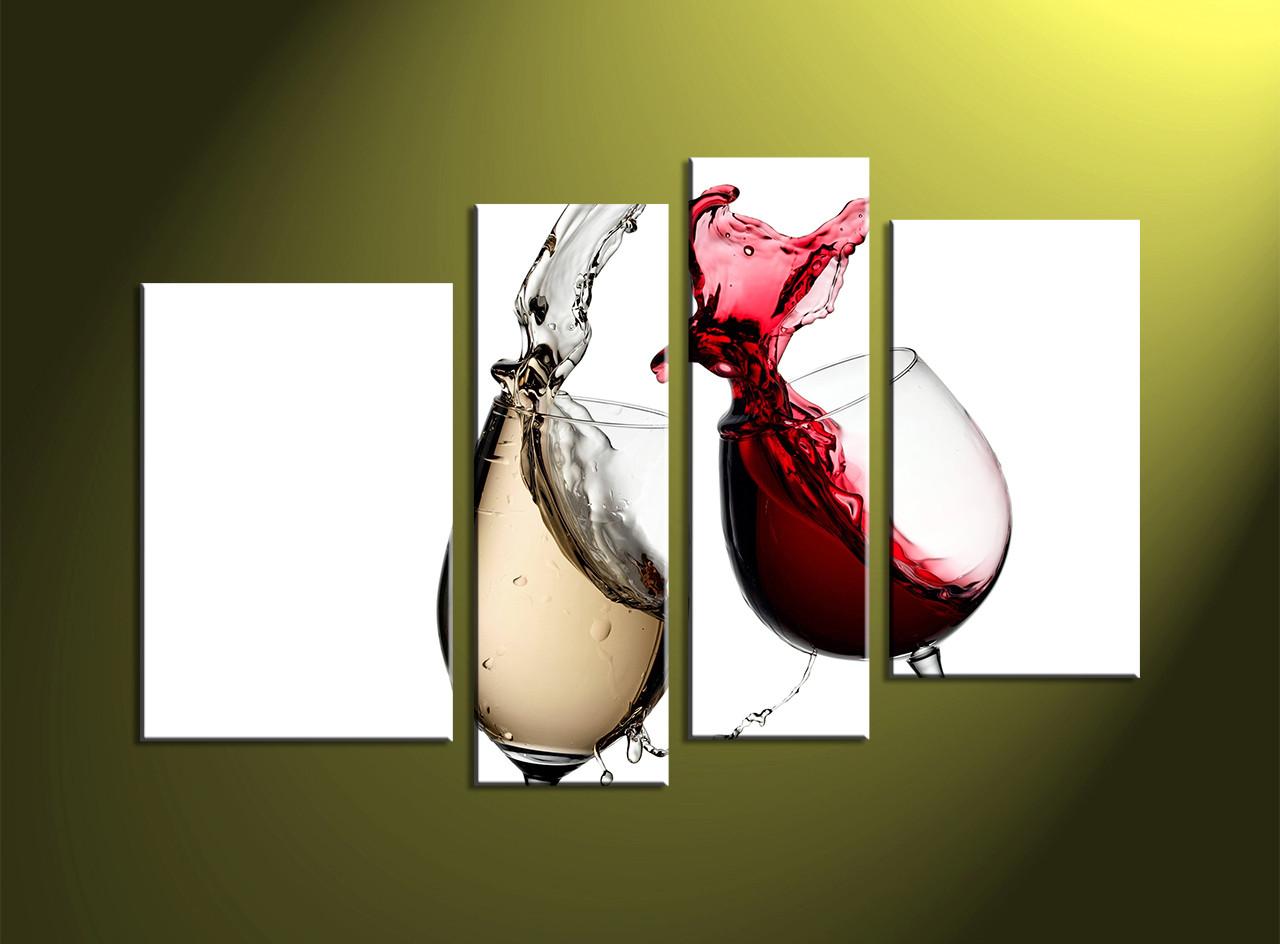 4 piece white home decor wine canvas art prints
