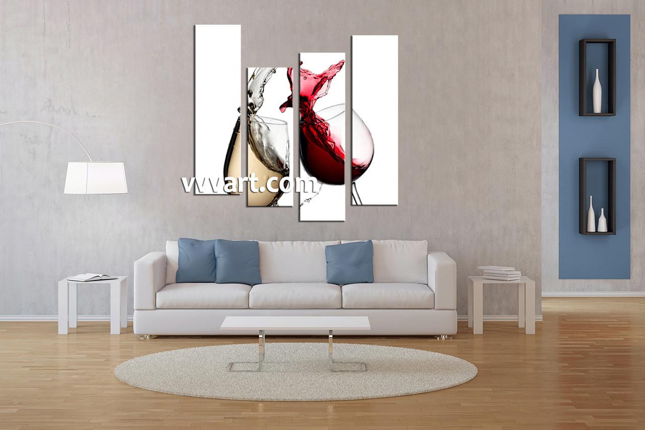 Living Room Art, 4 Piece Canvas Art Prints, Red Wine Canvas Print, Scenery Part 42