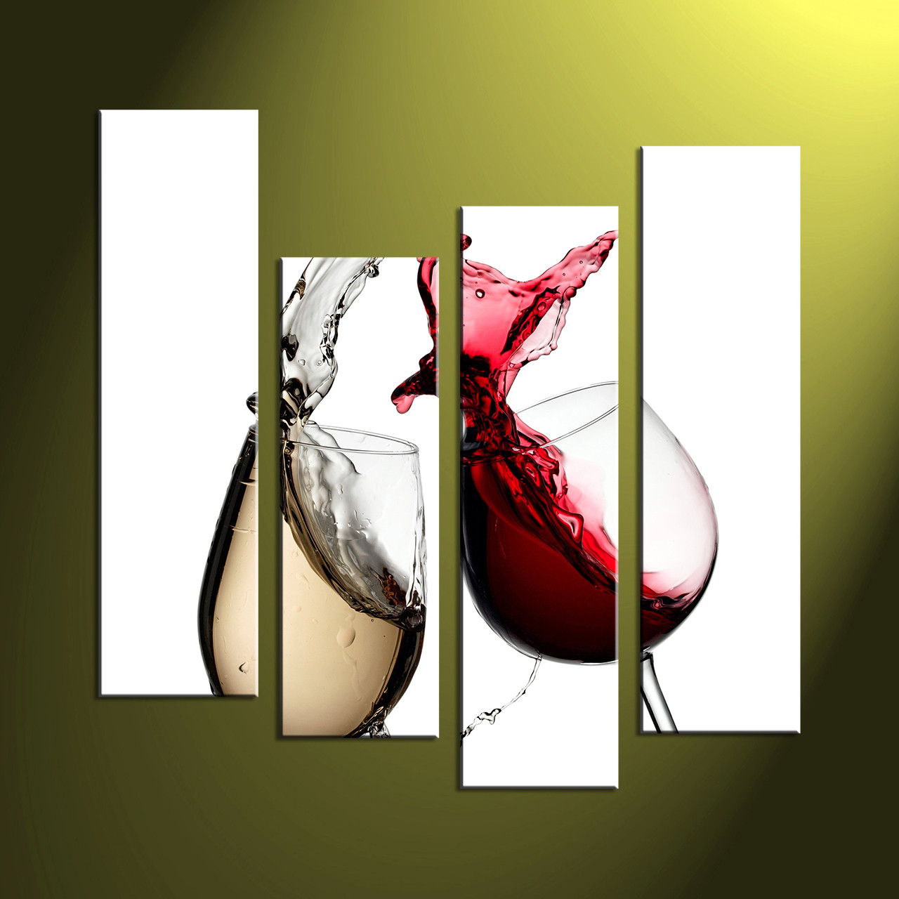 Purple Bowls Wine Bottels Modern Canvas Painting Wall Art: 4 Piece White Canvas Home Decor Red Wine Art