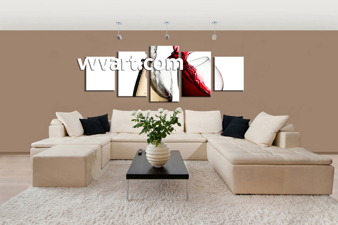 Wine Wall Decor 5 piece white canvas kitchen red wine huge pictures