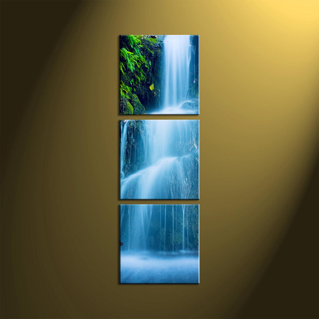 Waterfall Wall Art 3 piece green scenery nature waterfall art