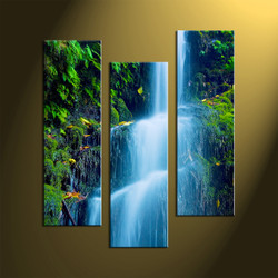 Triptych Green Scenery Waterfall Huge Pictures,Waterfall River Art