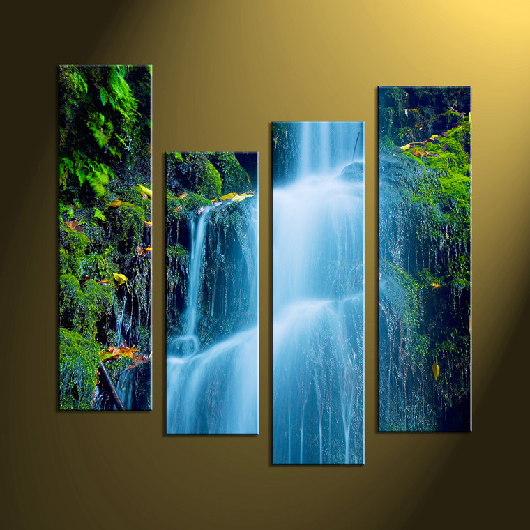 4 piece green canvas scenery forest wall art. Black Bedroom Furniture Sets. Home Design Ideas