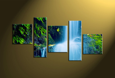 5 Piece Green Waterfall Scenery Artwork