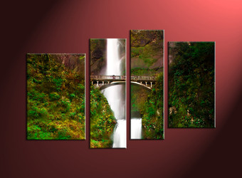 4 Piece Green Scenery Waterfall Multi Panel Canvas