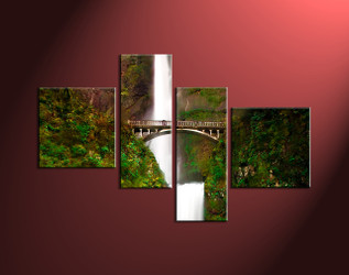 4 Piece Green Canvas Scenery Waterfall Large Pictures