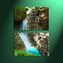 Home Decor, 2 Piece Wall Art, landscape multi panel art, forest large canvas, waterfall canvas art prints