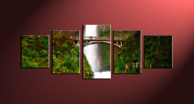 5 Piece Green Scenery Waterfall Large Pictures
