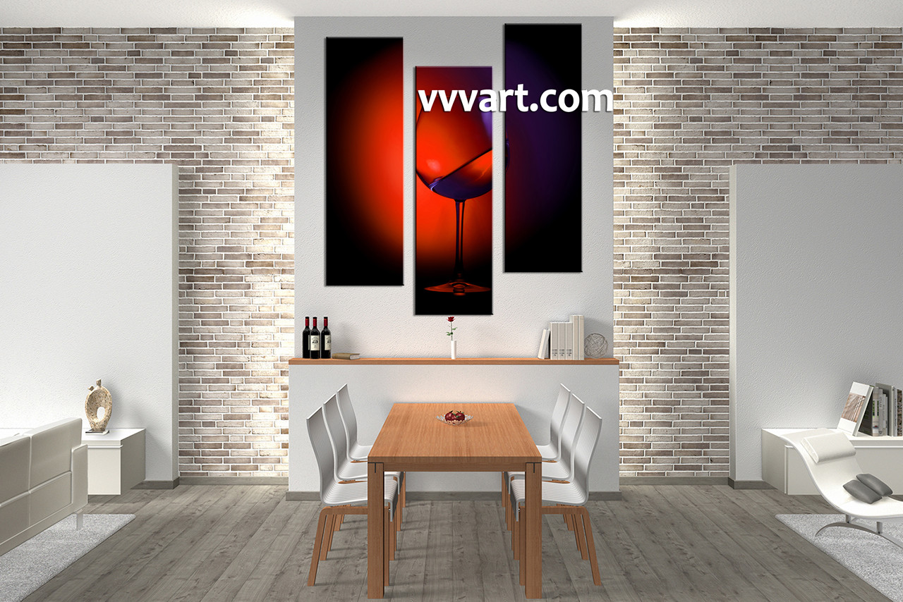 Triptych Wall Art 3 piece red wine multi panel canvas