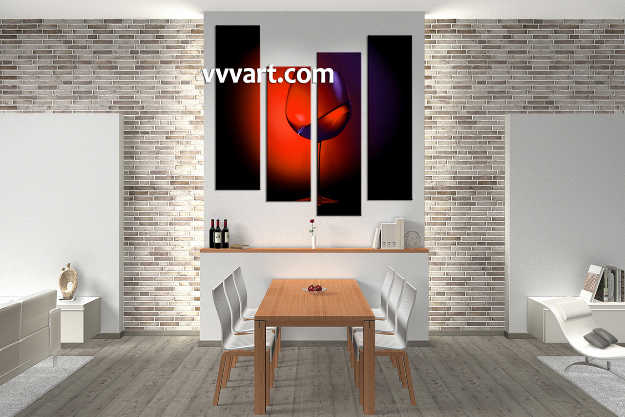 Kitchen Canvas Wall Art 4 piece canvas red wine wall art