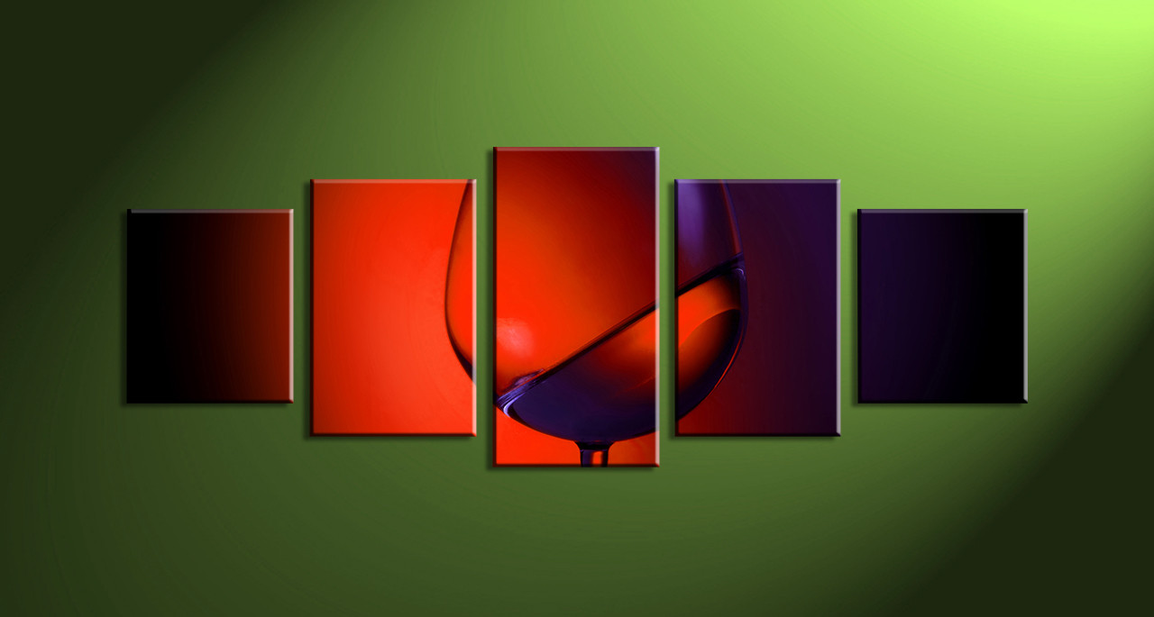 5 Piece Red Wine Canvas Photography