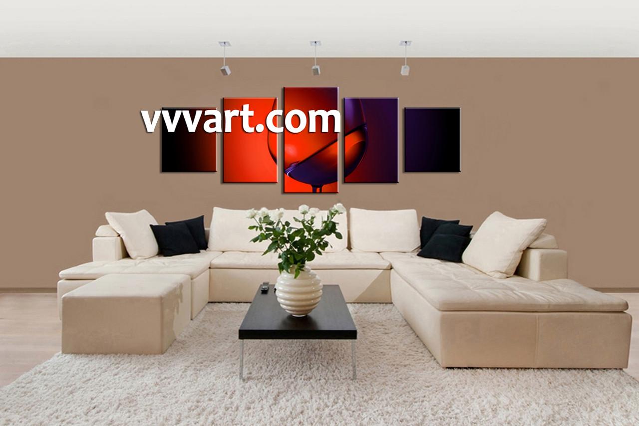 living room decor 5 piece wall art wine multi panel art kitchen canvas