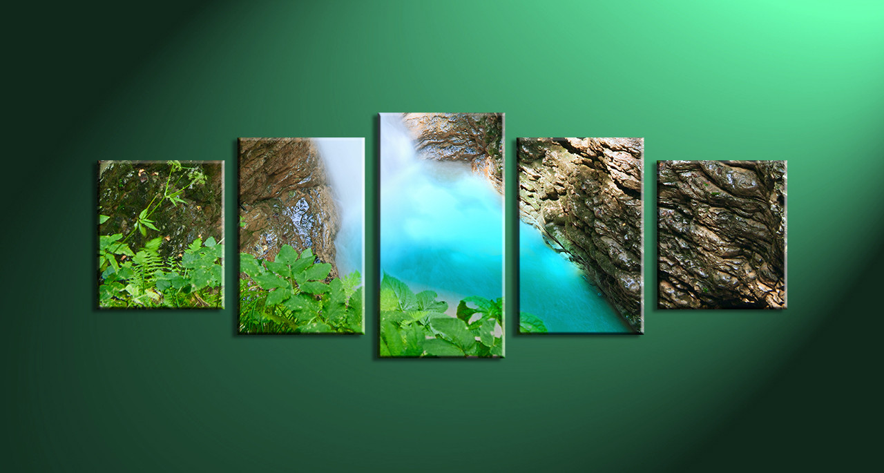 5 Piece Brown Scenery Waterfall Home Decor Art