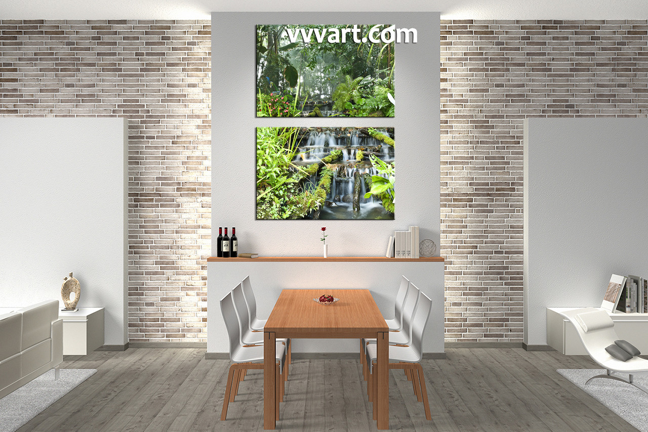 2 piece green canvas scenery forest wall art dining room wall decor 2 piece wall art scenery multi panel art waterfall amipublicfo Choice Image