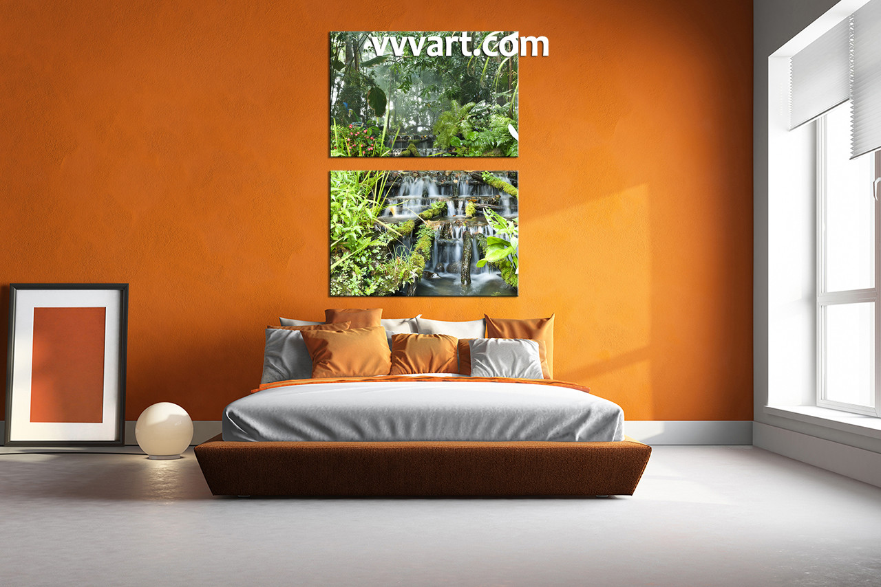 bedroom waterfall. bedroom wall decor  2 piece canvas art nature multi panel waterfall Piece Green Canvas Scenery Forest Wall Art