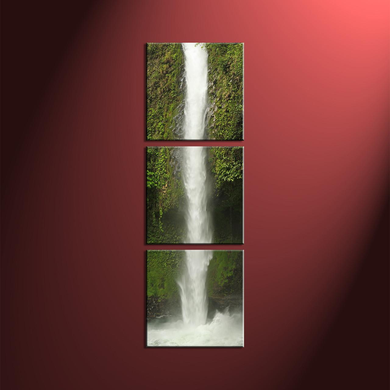 Waterfall Wall Art 3 piece waterfall green canvas art prints
