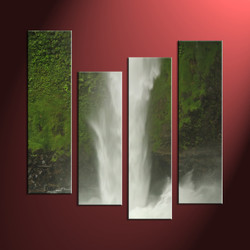 4 Piece Green Canvas Waterfall Scennery Art