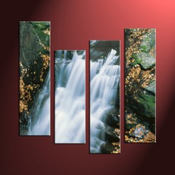 Waterfall Wall Art,4 Piece White Canvas Scenery Multi Panel Art