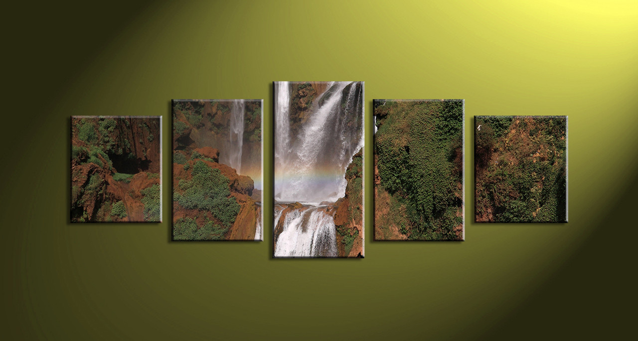 5 Piece Canvas Brown Scenery Waterfall Decor