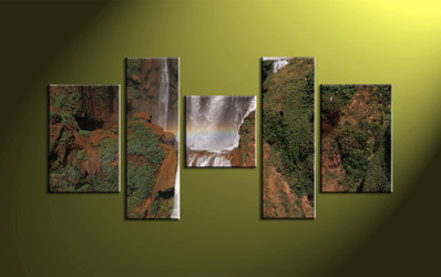 5 Piece Brown Scenery Canvas Waterfall Pictures