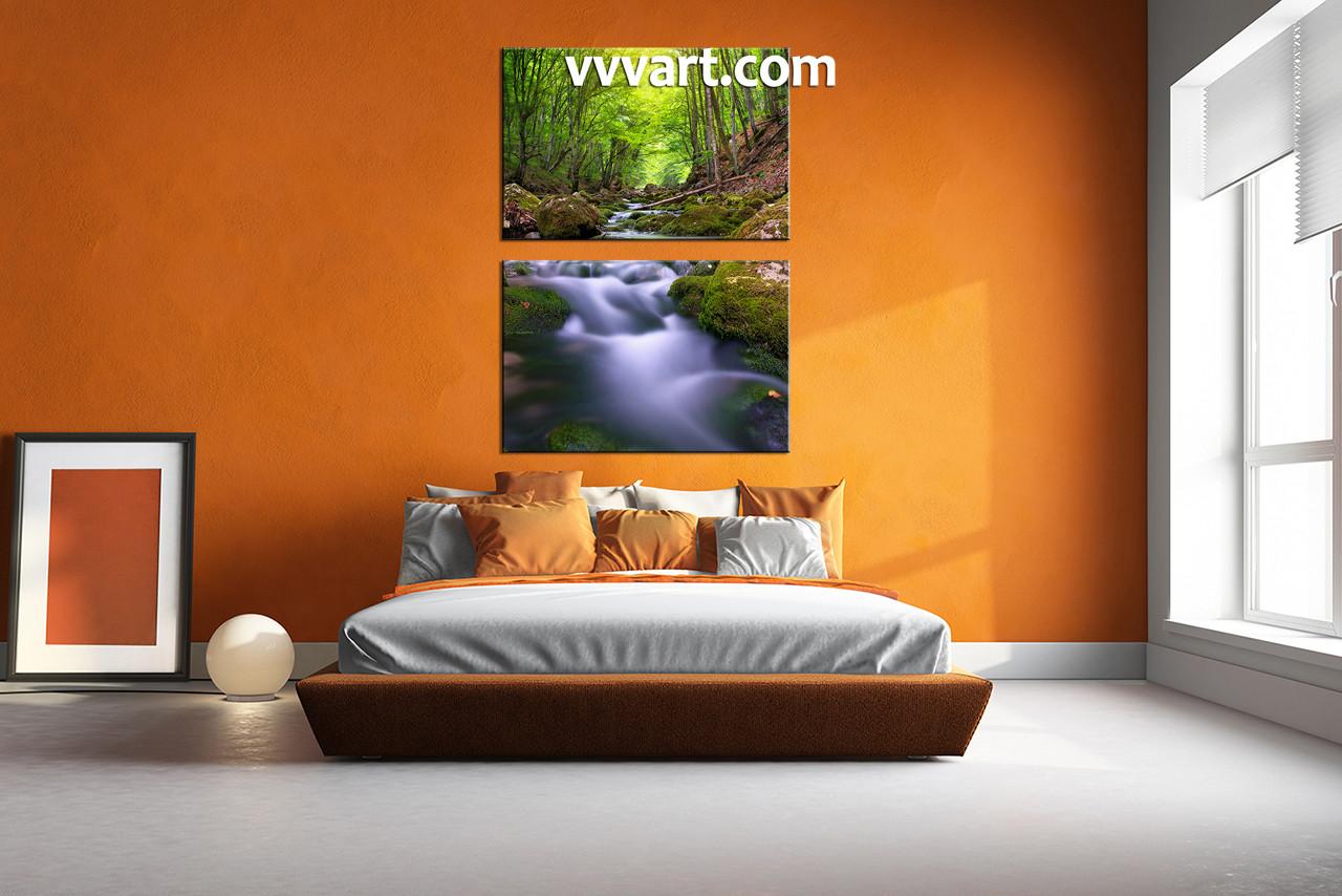 2 Piece Canvas Wall Art 2 piece green forest scenery canvas wall art